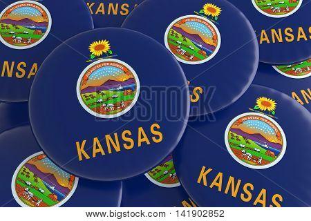 Pile of Kansas US State Flag Badges 3d illustration