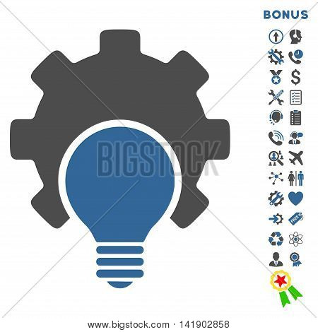 Bulb Configuration icon with bonus pictograms. Vector style is bicolor flat iconic symbol with rounded angles, cobalt and gray colors, white background.