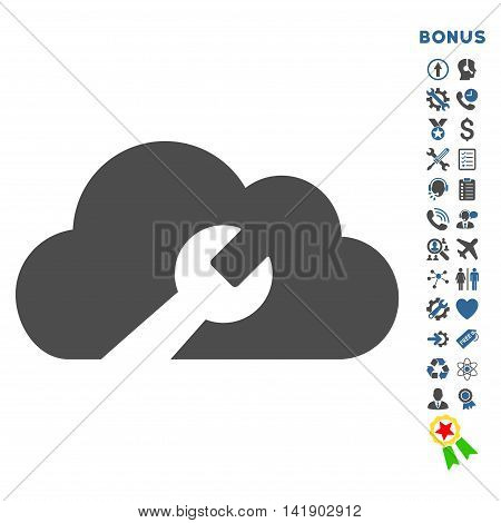 Cloud Tools icon with bonus pictograms. Vector style is bicolor flat iconic symbol with rounded angles, cobalt and gray colors, white background.
