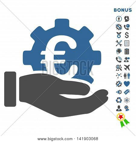 Euro Development Service icon with bonus pictograms. Vector style is bicolor flat iconic symbol with rounded angles, cobalt and gray colors, white background.