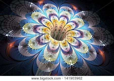 Abstract glowing colorful flower on black background. Fantasy red yellow blue and grey fractal design for posters wallpapers postcards or t-shirts. Digital art. 3D rendering.