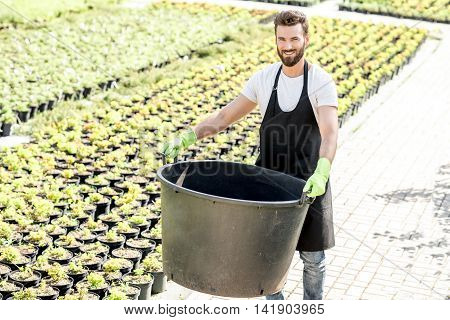 Handsome gardener holding huge bucket for growing trees on the plantation