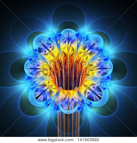Abstract glowing colorful flower on black background. Fantasy blue orange and yellow fractal design for posters wallpapers postcards or t-shirts. Digital art. 3D rendering.