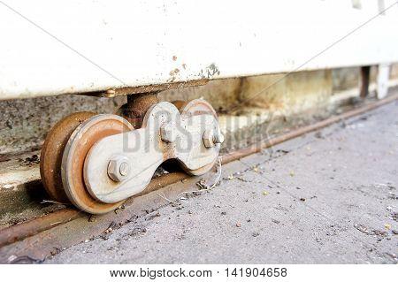 Steel wheels slide, a machine or structure having a wheel as its essential part.
