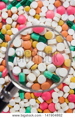pills and capsules on a white background