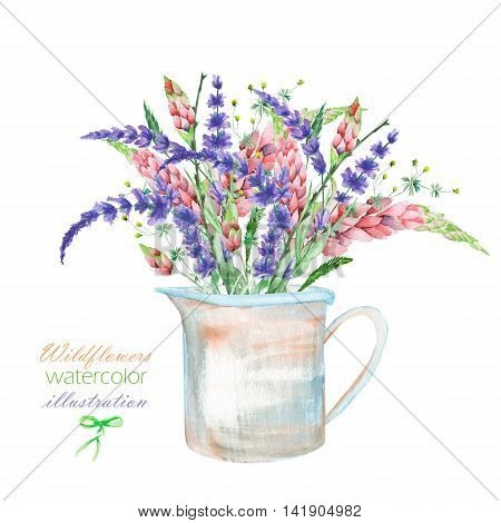 An illustration with a bouquet of the beautiful bright lupine flowers and lavender flowers in a rustic jar, isolated hand drawn in a watercolor on a white background