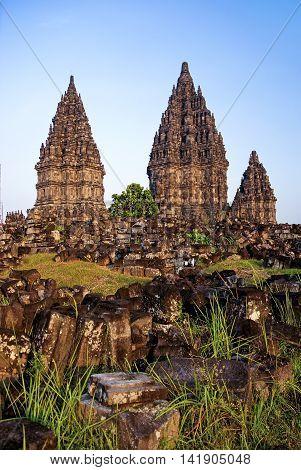Prambanan temple near yogyakarta in java indonesia
