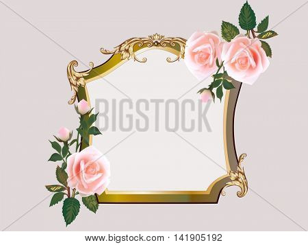 illustration with cream rose flowers in gold frame