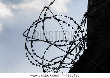 Barbed Wire Fence Around Prison Walls Blue Sky In Background