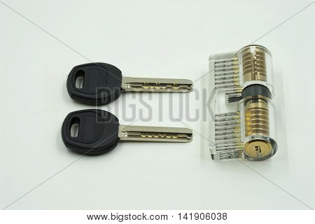 locksmith set of key maker transparent on isolate white background - can use to display or montage on products