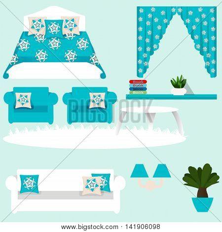 A set of furniture for bedroom, bed, sofa, curtains, plant, chair, table, cushion, bookshelf, carpet, vector illustration
