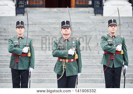 BUDAPEST, HUNGARY - AUGUST 18, 2015: Ceremonial of guard changing at the entrance near hungarian parliament