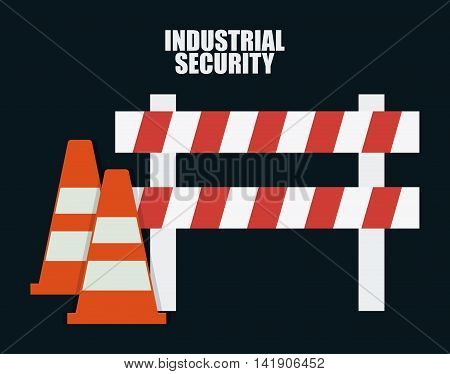 Cone and barrier icon. Industrial Security. Colorfull Vector illustration