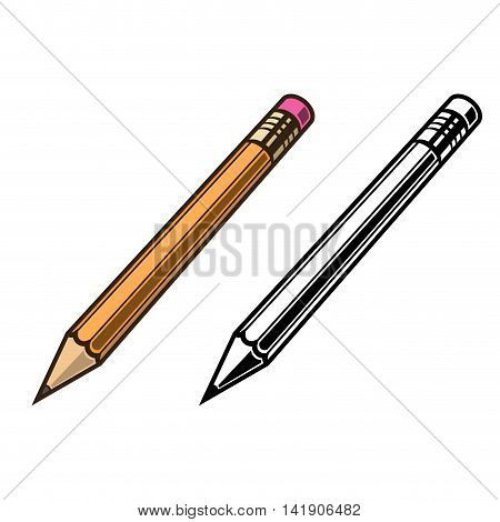 Pensil set on white background vector illustration