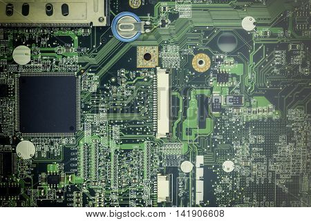 old mainboard on macro focus with vintage filter and fog filter point focus to cpu chip first - can use to display or montage on product