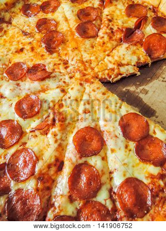 close up on fresh baked tasty pizza