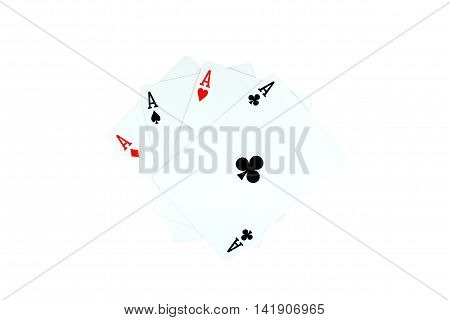 Ace of clubs and other ace on white background