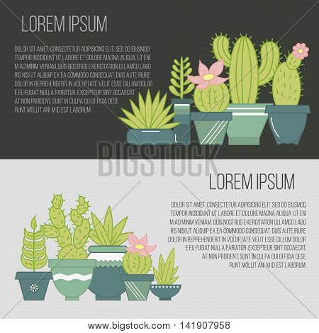 Vector flat banners with succulent plants and cactuses in pots.