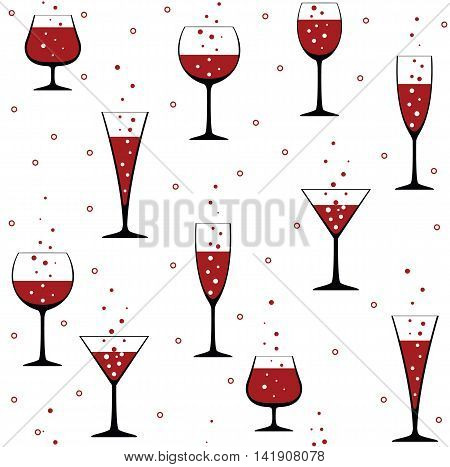 Seamless party pattern with wine glasses on white background