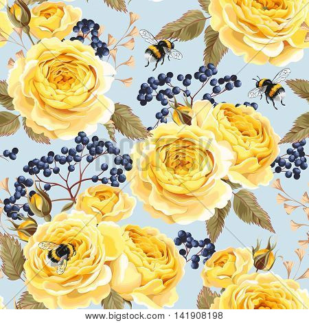 Vintage roses and berries vector seamless background