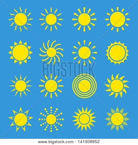 Icons of sun vector set isolated on a colored background. Simple symbols or logo summer energy or light. Yellow sun with rays silhouettes in a flat style.