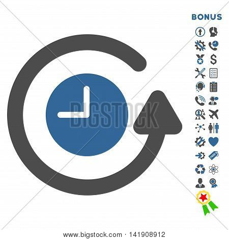 Restore Clock icon with bonus pictograms. Vector style is bicolor flat iconic symbol with rounded angles, cobalt and gray colors, white background.