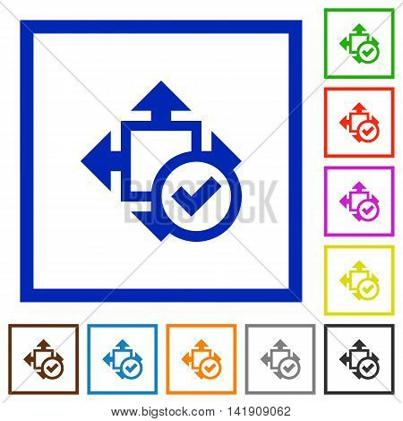 Set of color square framed Accept size flat icons