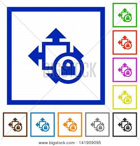 Set of color square framed Size lock flat icons