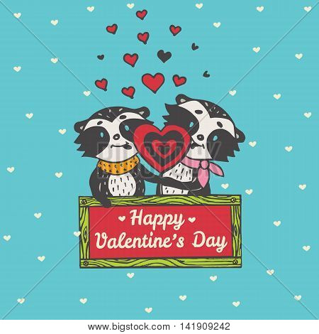 Valentines Day card with illustrated raccoon couple licking heart lollipop. Vector illustrated colorful raccoon couple on blue background.