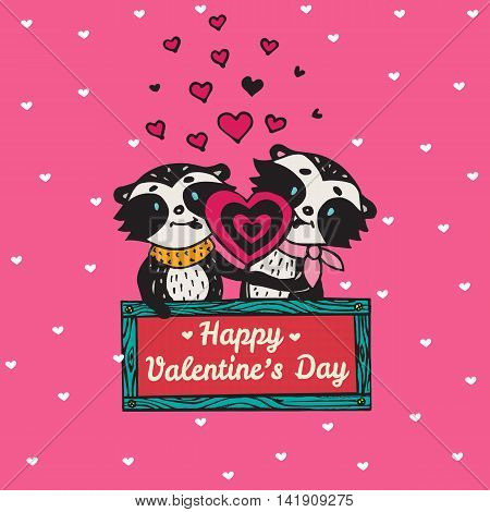 Valentines Day card with illustrated raccoon couple licking heart lollipop. Vector illustrated colorful raccoon couple on pink background.