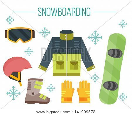 Vector set of snowboarding elements. Snowboard equipment- jacket boots helmet goggles gloves and deck. Isolated flat icons.White background. Clothes for snowboarding. Extreme sport illustration.