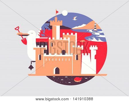 Sand castle flat. Summer beach and kingdom cartoon, vector illustration