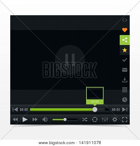 Black media player with video loading bar. Contemporary classic dark style skin. Variation 03 color green . UI user interface control buttons. Vector illustration web design element in 10 eps