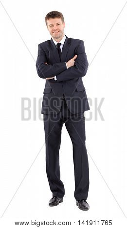 Attractive business  man with arms folded on white background
