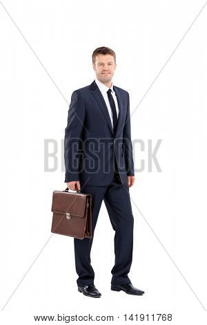 Smiling business man isolated on white