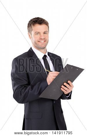 Portrait of happy smiling business man with brown folder