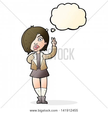 cartoon cool girl giving peace sign with thought bubble