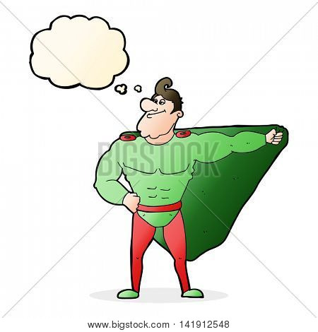funny cartoon superhero with thought bubble