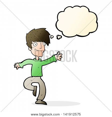 cartoon happy man dancing with thought bubble