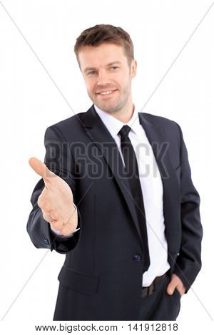 Portrait of a successful man giving a hand