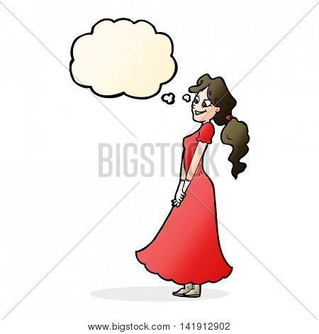 cartoon pretty woman in dress with thought bubble