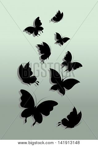 Black silhouettes of butterflies. Vector illustration. Abstract background.