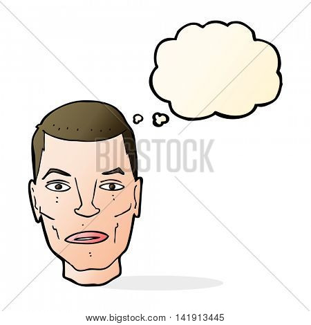 cartoon serious male face with thought bubble