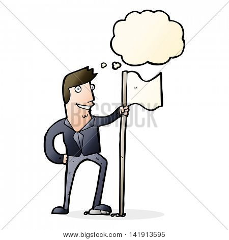 cartoon man planting flag with thought bubble