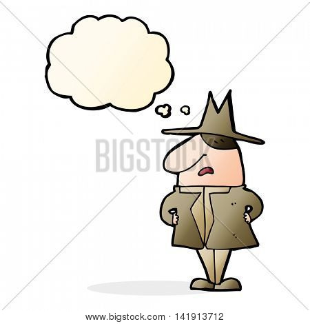 cartoon man in coat and hat with thought bubble