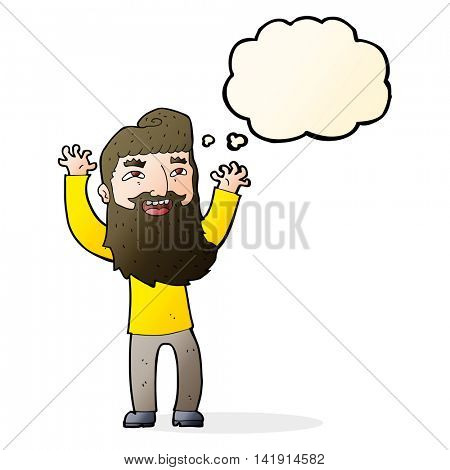 cartoon happy bearded man waving arms with thought bubble
