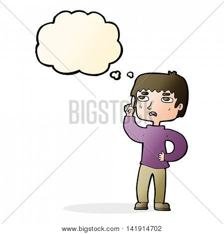 cartoon boy with question with thought bubble