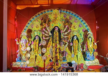 KOLKATA INDIA - OCTOBER 21 2015 : Beautifully interior of decorated Durga Puja pandal at Kolkata West Bengal India. Durga Puja is biggest religious festival of Hinduism.