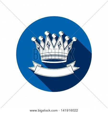 3d stylish monarch crown decorated with ribbon royalty symbol.