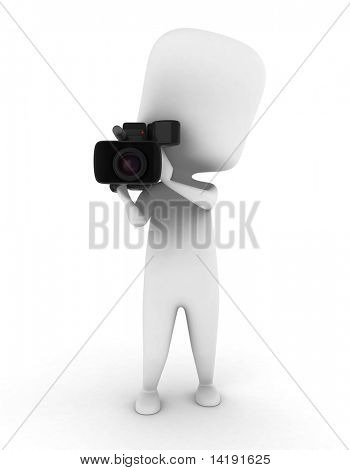 3D Illustration of a Videographer Holding a Video Camera